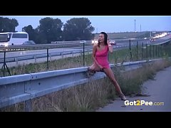 Public Pissing On The Highway For Sexy Brunette