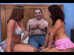 hairy man and 2 hotties - lucky man