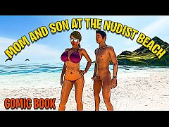 MOTHER AND SON ON A NUDIST BEACH