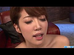Makoto Yuukia ends with jizz on her nice lips and tits
