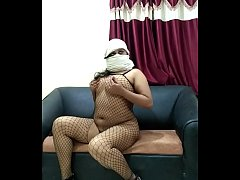 indian Busty Sarah wearing fishnet and showing her big boobs