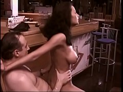 Busty porn-star Rumika Powers gets her cunt pounded in bar