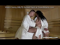 Fat grandma rides young lover in the sauna
