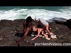 blonde teen with big boobs interracial outdoor threesome double penetration
