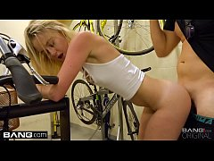 Fucking tight teen pussy in the public bike locker