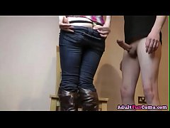 Dirty Slut In Jeans And High Boots Gets Fucked On the Chair