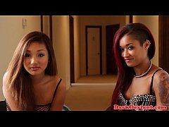 Black lesbo mistress pleasured by asian sub