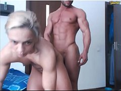 Gorgeous couple of bodybuilders on web-cam \/no sex \/no sound