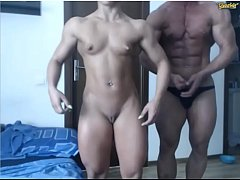 gorgeous couple of bodybuilders on web-cam no sex no sound