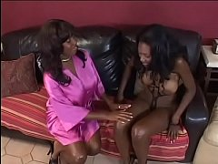 Sexy BBW ebony slut Nyomi Banxxx gets her cunt fucked by strapon and licked by her chubby girlfriend Candace Von's tongue