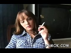 Wanting slut engulfing that cock deep whilst having a smoke