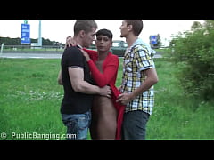 Cute black teen girl PUBLIC gangbang by 2 guys on the street