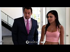 FantasyHD - Sexy little babysitter Ariana Marie seduces the father