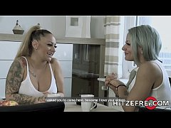 HITZEFREI Two big tit blonde German lesbians anal play with toys