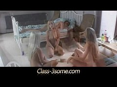 Three sexy blonde teens worship horny dick in bedroom