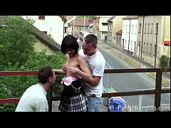 Middle of the street extreme public sex threesome with a petite teen girl