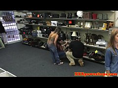 Pawnshop amateur fucked by broker for money