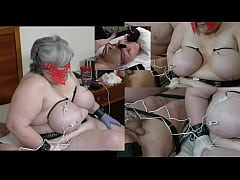 Granny has her udders shocked while a male slave gets his balls also shocked