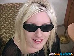 Cute Blonde gets Jizz on Glasses