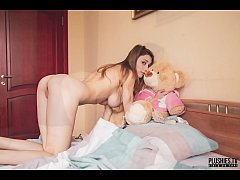 Mila Azul open legs kiss sex morning wake up and cunnilingus woth plush toy