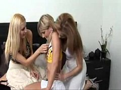 2 Lesbian Milfs Seduce a Teen Cheerleader into her First FFF Threesome