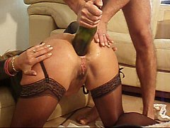 Freton - Gaping Anal Fisting Wine Bottle In Ass.WMV