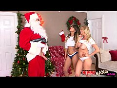 Teen and stepmom 3way fucking with Santa near the xmas tree