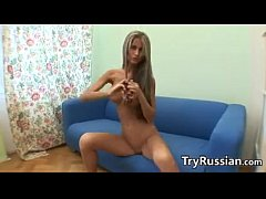 Skinny Blonde Russian Babe Teasing Her Body