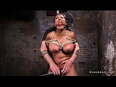 Huge tits brunette slave Maxine X put on wooden peak in rope bondage and pussy vibed then on the floor fucked