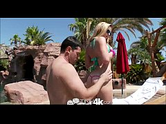 Tiny4K Bikini babe have hot sex by the pool