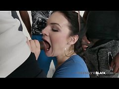 Milky White Beauty, Hannah Vivienne, is mouth fucked, ass banged & muff stuffed by 1, 2, 3 ... FOUR big ebony dicks in this anal fucking interracial gangbang! Full video at PrivateBlack.com!