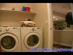 Amateur teen masturbates on washing machine