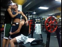 3-way sucking and fucking at the gym