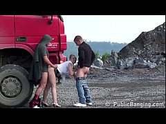 Blonde petite girl fucked in public sex threesome at construction site by 2 guys