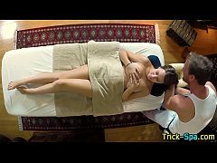 Babe rubbed by masseur