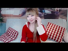 Cute russian teen playing with dildo on livestream - HornyTeenCam.com