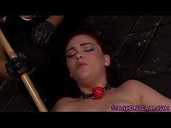 Chained slave gets toyed