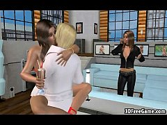 A hot pair of 3D brunettes are riding a cock