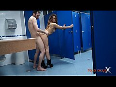 hot brunette fucking in a public restroom - laurita peralta