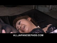 Japanese Karin Tsubaki has her furry muff punished