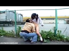 Japanese petite girl getting fucked outdoors by old man