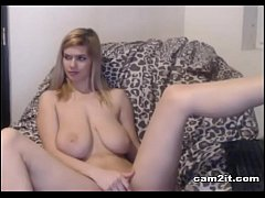 Amazing Blonde Teen With Huge Natural Tits Rubbing Her Pussy Cam2it.com