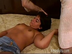 Cute amateur whore tied up and fucked in bed