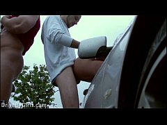 Risky foursome in PUBLIC with a pregnant girl through the car windows