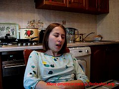 Teenie fingers to orgasm in kitchen