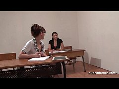 Clip sex French students hard ass fucked and fisted in FFM threesome in classroom