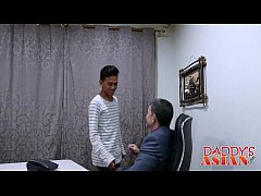 Jap stud Jude satisfies his attractive boss in a office