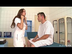 Busty lover bangs Doc Marina Visconti on the examination table & covers tits with cum