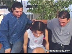 Intense gang bang action with sweet teen