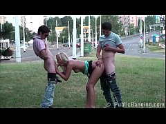 Cute young blonde teen girl public street sex gang bang threesome with 2 guys